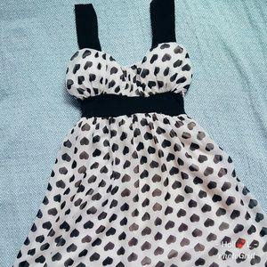 Dresses & Skirts - Sundress black heart polka pattern and white